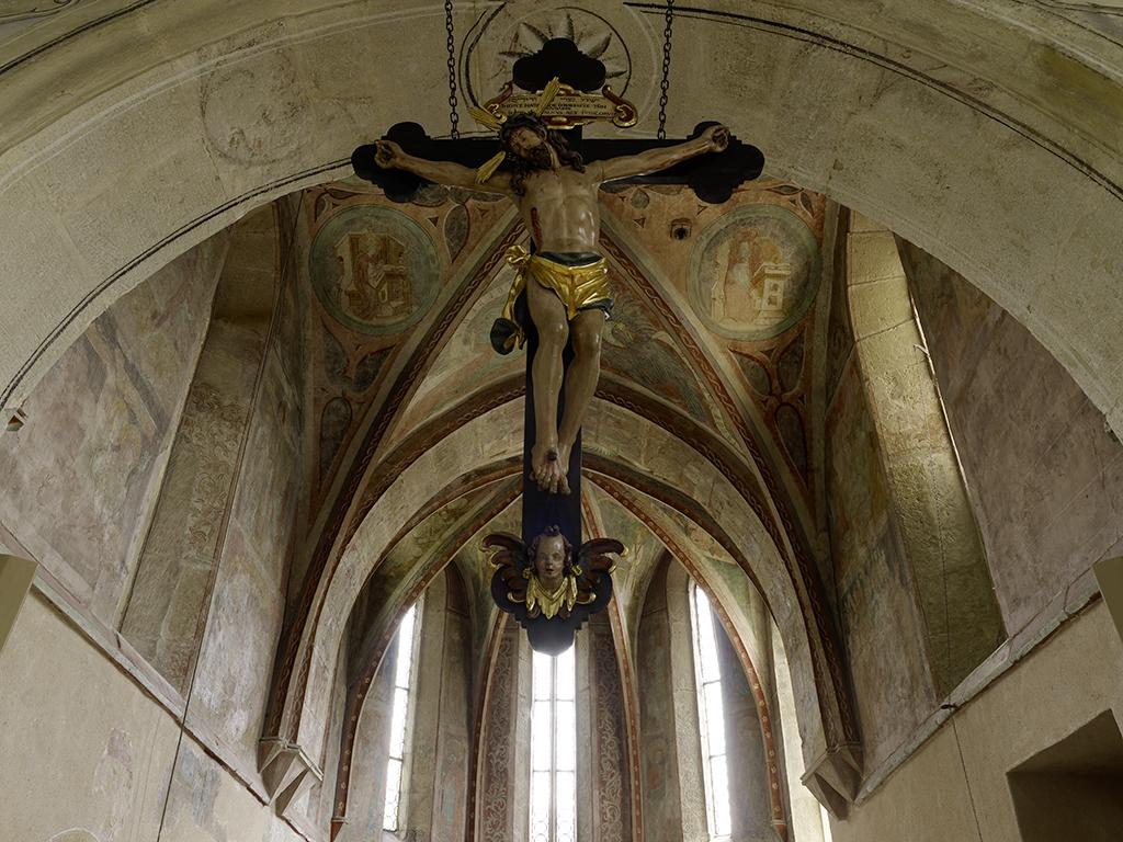 Kirche Waldbach Detail Apsis/Fresken mit Christuskreuz QF