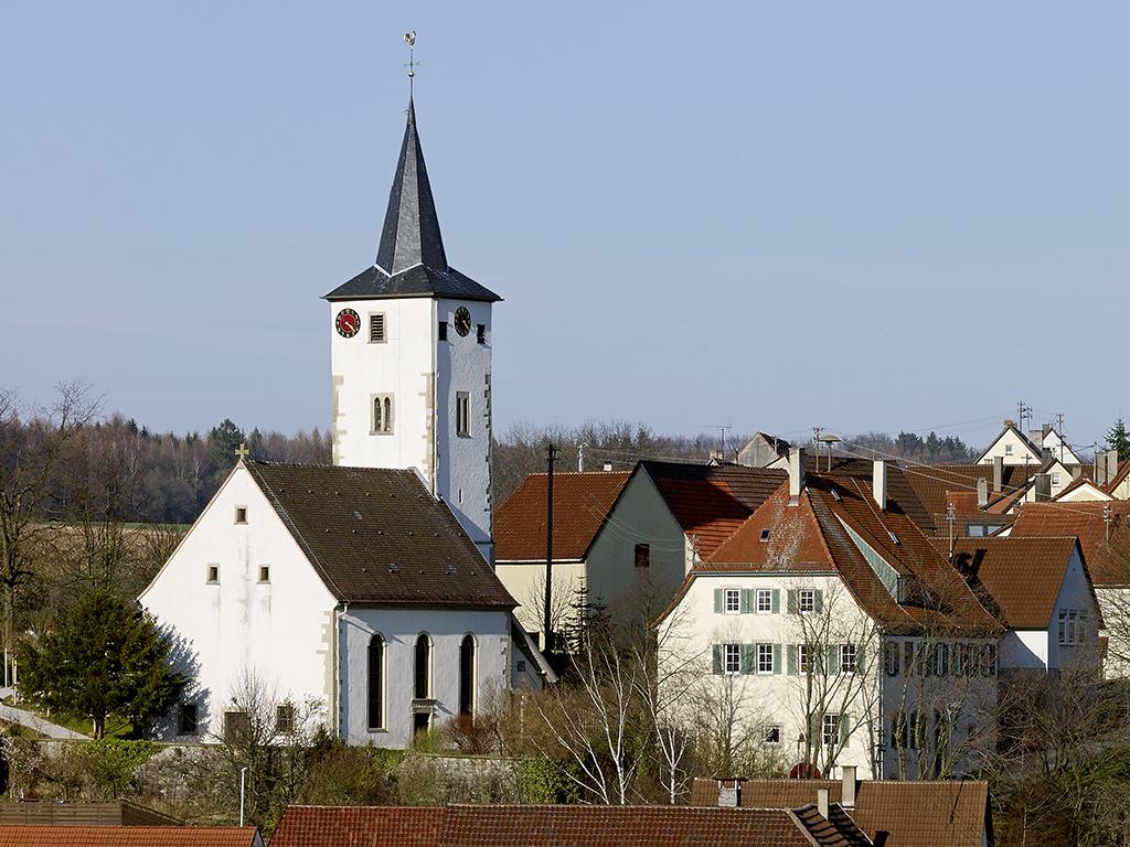 Übersicht Südwest-Fassaden evangelische Kirche Lampoldshausen
